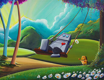 Lowbrow Painting - The Swing by Cindy Thornton