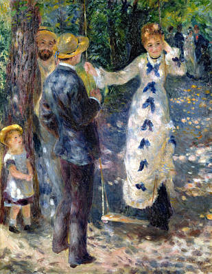 Flirt Painting - The Swing by Pierre Auguste Renoir