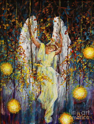 Painting - The Swinging Angel by Dariusz Orszulik