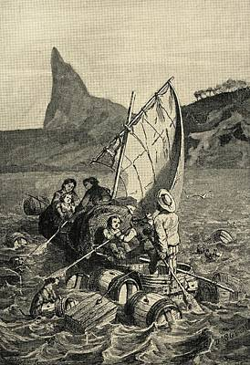 Robinson Drawing - The Swiss Family Robinson, By J. Wyss by Vintage Design Pics
