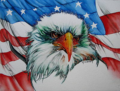 American Eagle Painting - The Symbol by Maria Barry