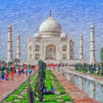 Mausoleum Digital Art - The Taj Mahal - Impressionist Style by Digital Photographic Arts