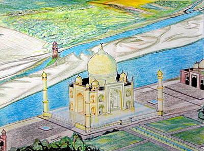 Colourfull Drawing - The Taj Mahal  by Saurabh Kumar