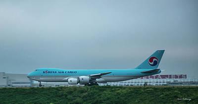 Photograph - The Takeoff Korean Air Cargo 747 Airplane Art by Reid Callaway