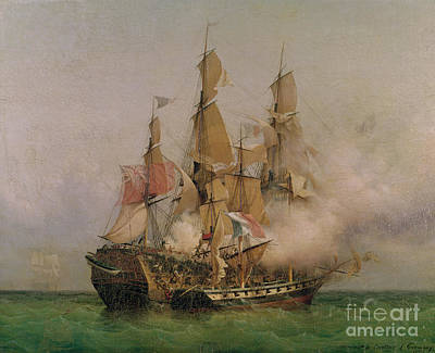 Boats In Water Painting - The Taking Of The Kent by Ambroise Louis Garneray