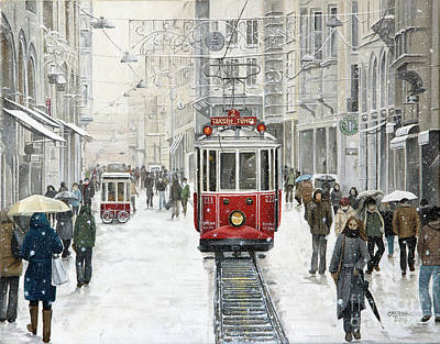 City And Colour Painting - the Taksim Tram by Carol Bostan