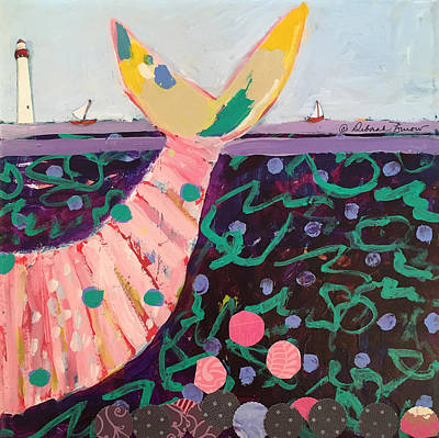 Lighthouse And Sailboat Painting - The Tale End by Deborah Burow