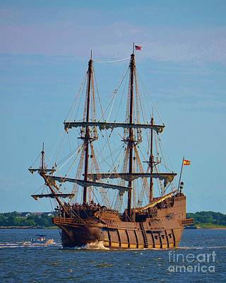 Photograph - The Tall Ship El Galeon by Bob Sample