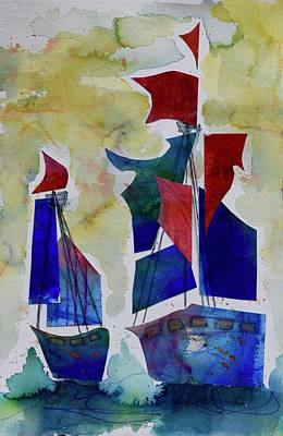 Wall Art - Mixed Media - The Tall Ships by Jen Walls