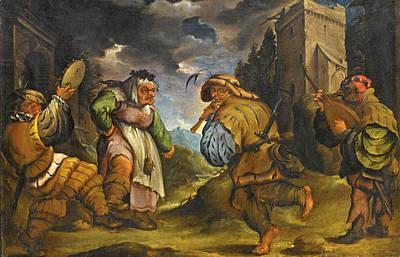 Painting - The Tarantella Players by Circle of Faustino Bocchi