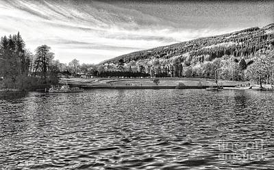 Photograph - The Tarbet Hotel At Loch Lomond In Greyscale by Joan-Violet Stretch