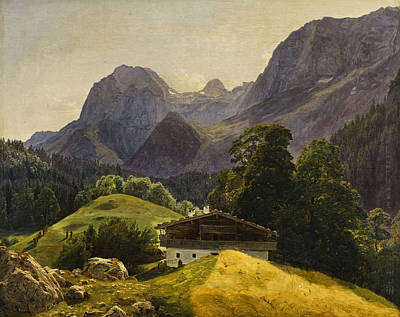 Painting - The Taubensee With The Steinberg In The Ramsau by Ferdinand Georg Waldmuller