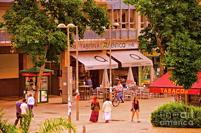 Art Print featuring the photograph The Tavern On The Plaza - Spain by Mary Machare