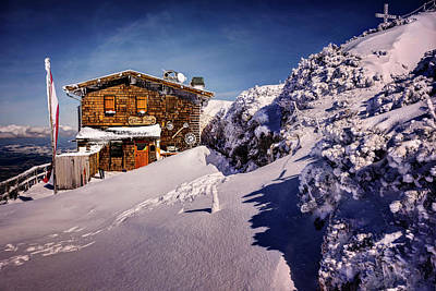 Snow-covered Landscape Photograph - The Tavern On Untersberg Mountain Salzburg In Winter by Carol Japp