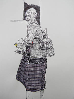 Drawing - The Tea Man The Souss Vendor by Marwan George Khoury