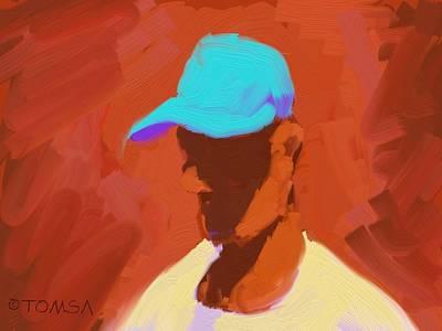 Digital Art - The  Teal Hat by Bill Tomsa