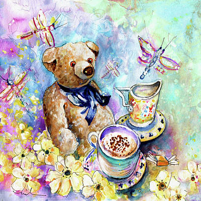 Painting - The Teddy Bear And The Dragon Flies From York by Miki De Goodaboom