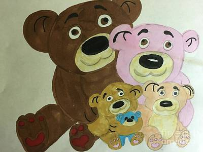 Drawing - The Teddy Family  by Charita Padilla