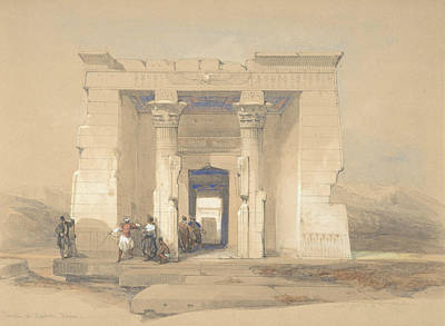 Temple Drawing - The Temple At Dendur, Nubia by David Roberts