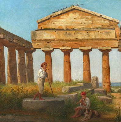 The Temple Of Ceres At Paestum Art Print by Constantin Hansen