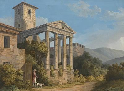 Painting - The Temple Of Hercules In Cori Near Velletri by Jacob Philipp Hackert