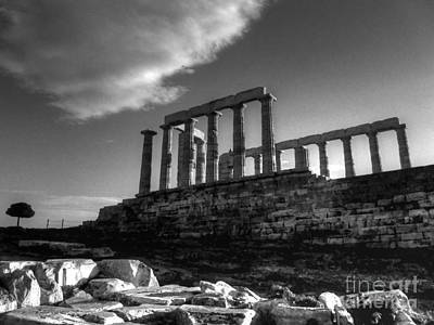 Sounion Photograph - The Temple Of Poseidon In Black And White Hdr by Vicki Spindler