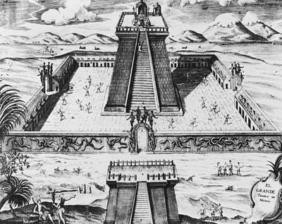 Temple Drawing - The Templo Mayor At Tenochtitlan by Mexican School