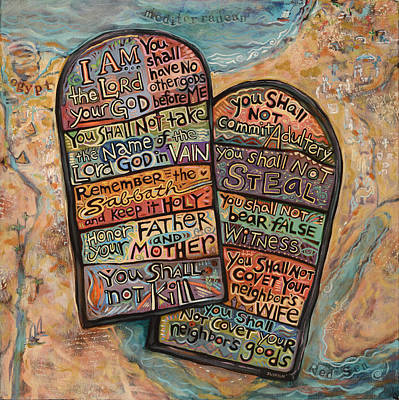 Old Wall Painting - The Ten Commandments by Jen Norton
