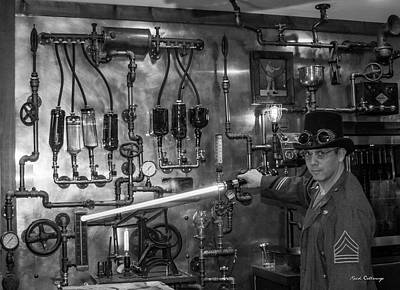 Photograph - The Tender Steampunk Interior Design 8 B W Atlanta Man-cave Art by Reid Callaway