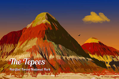 Digital Art - The Tepees by Chuck Mountain