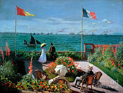 Outside Painting - The Terrace At Sainte Adresse by Claude Monet