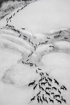 Drawing - The Terrible Winter - Migration by Dawn Senior-Trask