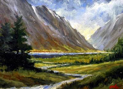 Mountain Wall Art - Painting - The Tetons 05 by Jim Gola
