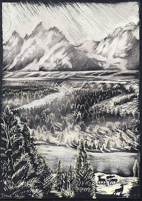 Teton Drawing - The Tetons by Dawn Senior-Trask