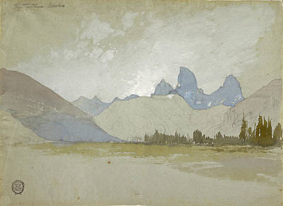 Teton Drawing - The Tetons, Idaho, 1879 by Thomas Moran