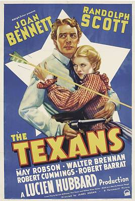 1938 Movies Photograph - The Texans, Randolph Scott, Joan by Everett