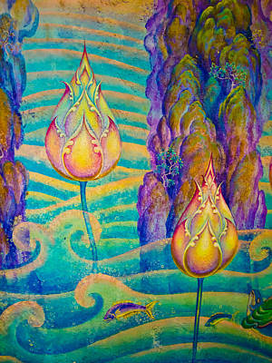 The Thai Art Of Religion On Wall Of Temple. Art Print by Shattha Pilabut