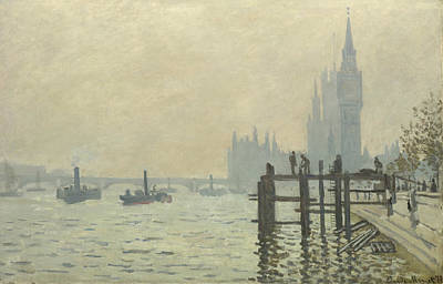 Steeple Painting - The Thames At Westminster by Claude Monet