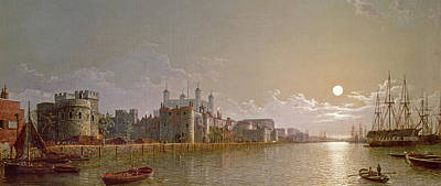The Thames By Moonlight With Traitors' Gate And The Tower Of London Art Print by Henry Pether