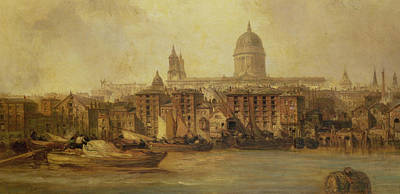 English Scene Painting - The Thames Near Blackfriars by James Webb