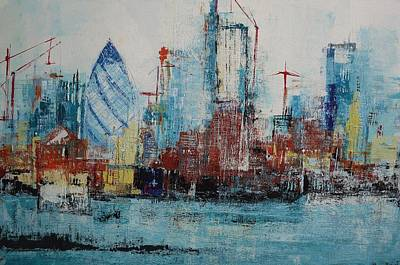 London Skyline Paintings - The Thames View by Irina Rumyantseva