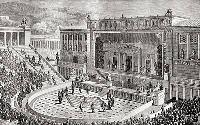 Athens Drawing - The Theatre Of Dionysus, Athens, Greece by Vintage Design Pics