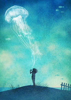 Floating Girl Drawing - The Thing About Jellyfish by Eric Fan
