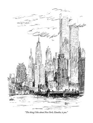Drawing - The Thing I Like About New York by Robert Weber