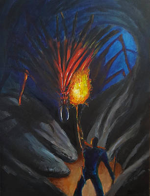 Fantasy Drawings - The thing in the cave by Chris Benice