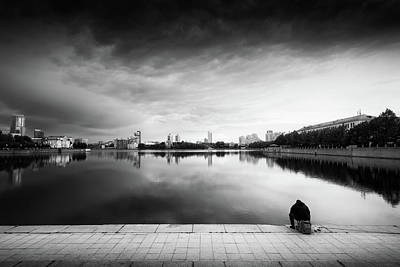 Photograph - The Thinker And The Lake by John Williams