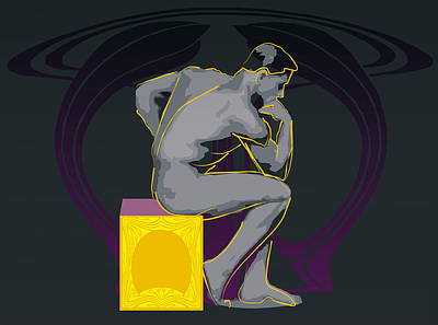 Fine Art Nudes Digital Art - The Thinker - El Pensador by Quim Abella