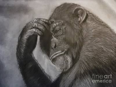 Drawing - The Thinker by Paul Horton