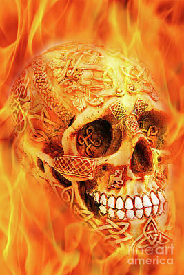 Digital Art - Flaming Skull by Tim Hightower