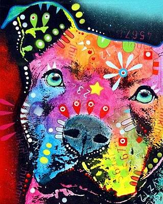 Pit Bull Mixed Media - The Thoughtful Pit by Dean Russo